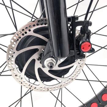closeup of front hub on electric bike by Hardcore eCycles - 2 wheel drive ebike