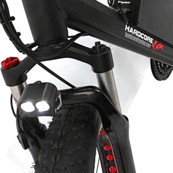 closeup of LED headlight on Hardcore eCycles electric bike