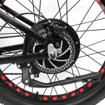 left view of rear tire and kickstand on Hardcore eCycles HEC2000 electric bike